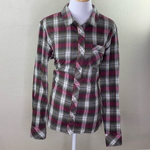 Horny toad woman's plaid snap front shirt sz large